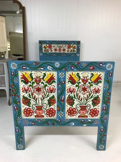 SOLD - Original Folk Art  Single Bed - fd64